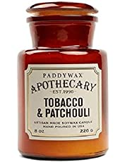 Paddywax Candles Apothecary Collection Jar Candle, 8-Ounce, Tobacco and Patchouli