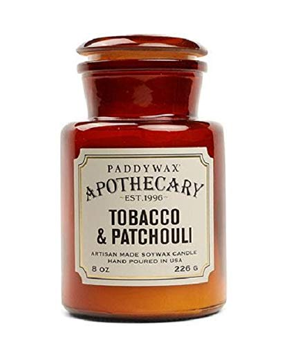 Apothecary Jar Candle - Paddywax Candles Apothecary Collection Soy Wax Blend Candle in Glass Jar, Medium, 8 Ounce, Tobacco & Patchouli