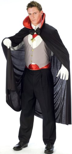 FunWorld Complete Vampire, Black/White/Red, One Size Costume (Cummerbund Costume)