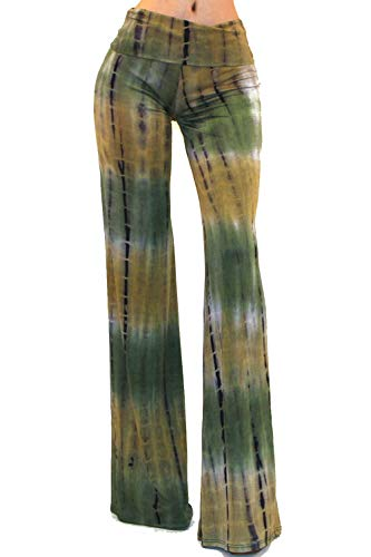 Vivicastle Women's Fold Over High Waist Wide Leg Long Palazzo Pants (Medium, I93, Olive)