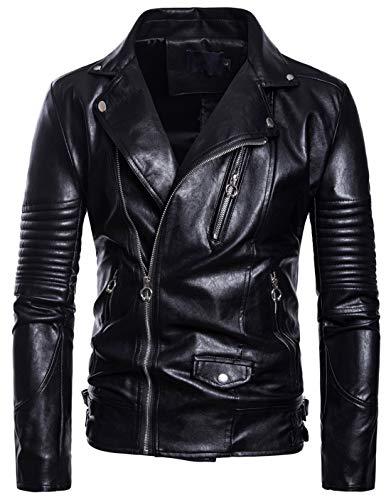 chouyatou Men's Casual Crinkled Sleeve Slant Zip Up Biker Faux Leather Jacket (X-Small, Black)