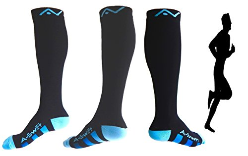 Compression Socks (1 pair) for Women & Men by A-Swift – Graduated Athletic Fit for Running, Nurses, Flight Journey, Skiing & Maternity Pregnancy – Boost Stamina & Recovery – DiZiSports Store