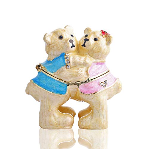 YUFENG Handmade Crystal Metal Hug Bear Trinket Boxes Figurines Jewelry Lady Girls