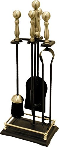 'Kingston' Black And Polished Brass Traditional Fireside Companion Toolset And Stand Black Country Metal Works