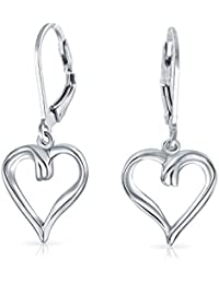 "925 Sterling Silver Romantic Open Heart 1.5"" Dangle Leverback Earrings"