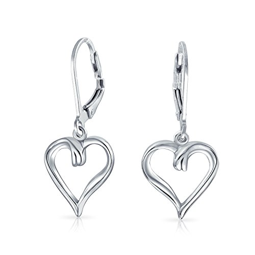 Shape Earrings Sterling Heart Silver (Open Heart Romantic Dangle 925 Sterling Silver Leverback Earrings)