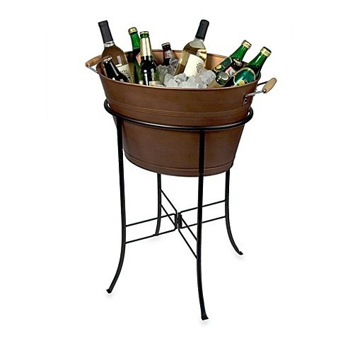 Artland Oasis Oval Party Tub with Stand in Antique - Tub Beverage Copper Stand