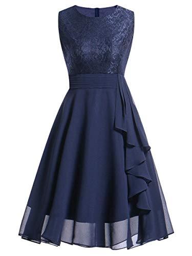 - Romwe Women's Fit and Flare Lace Chiffon Ruffle Trim Midi Prom Dress Navy XL