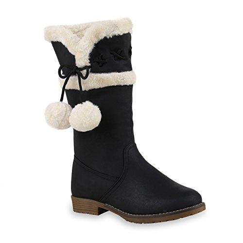Warme Damen Schuhe Stiefel Stiefelette Boots Flandell Schwarz Braun