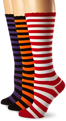 Jefferies Socks Girls' Little Christmas and Halloween Stripe Knee High Socks 3 Pair Pack, Multi, X-Small -