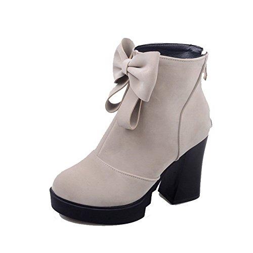 AgooLar Damen Hoher Absatz Rund Zehe Blend-Materialien Schnüren Stiefel, Weiß, 34