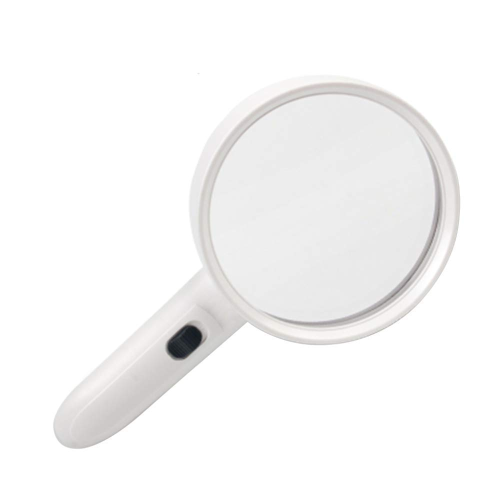 Loupe Magnifying Glass ABS White HD 10X Old Reading LED Light UV Electronic Maintenance Recognition Children Reading Magnifying Glass by ElectroOptix