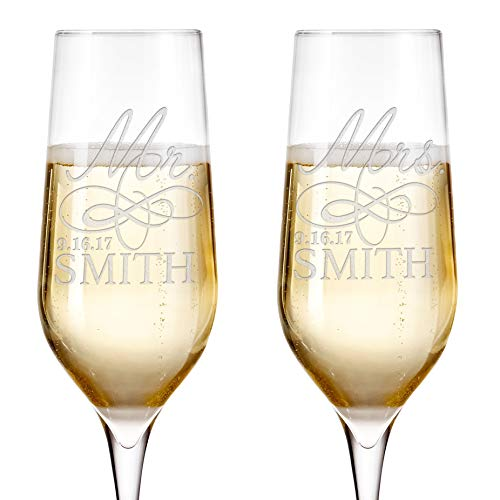 Customization Mill Set of 2, Personalized Mr. Mrs. Wedding Toast Champagne Flute Set with Date and Last Name - Engraved Flutes for Bride and Groom Gift for Customized Wedding Gift E-4
