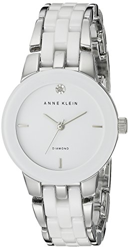 Diamonds White Dial (Anne Klein Women's AK/1611WTSV Diamond Dial Silver-Tone and White Ceramic Bracelet Watch)