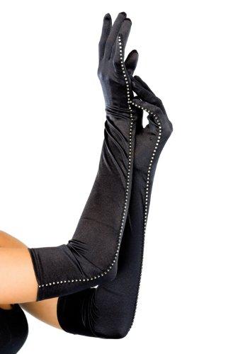 Leg Avenue Women's Opera Length Satin Gloves With Rhinestone Trim, Black, One (Sexy Rhinestone Trim)