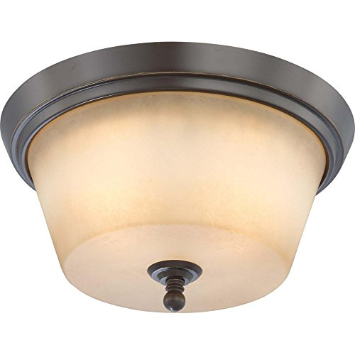 Nuvo Lighting 60/4172 Two Light Surrey Medium Flush Dome with Auburn Beige Glass, CUL Damp Location, Vintage Bronze (Surrey 2 Light)