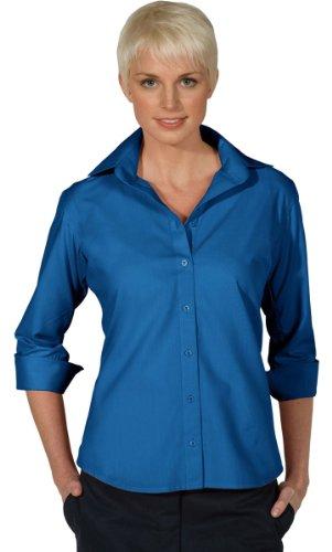 Edwards Garment Women's 3/4 Sleeve Poplin Blouse, French Blue, Medium (Poplin 3/4 Womens Shirt Sleeve)