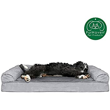 Furhaven Pet Dog Bed | Cooling Gel Memory Foam Ultra Plush Faux Fur & Suede Traditional Sofa-Style Living Room Couch Pet Bed w/ Removable Cover for Dogs & Cats, Gray, Large