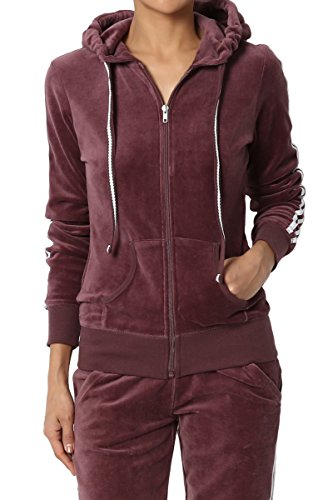 TheMogan Junior's Striped Long Sleeve Zip Up Hooded Velour Jacket Dusty Plum M (Hoodies Womens Velour Zip)