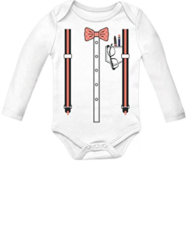 Halloween Nerd Suspenders Bowtie Geek Easy Costume Baby Long Sleeve Bodysuit 18M (12-18M) White