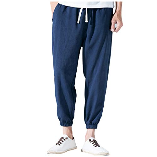 ✦◆HebeTop✦◆ Mens Cotton Loose Joggers Casual Lounge Pajama Gym Workout Yoga Pants Navy