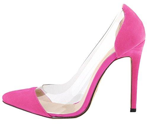 Pumps Toe Women's HooH Transparent Heel 1 Red Wedding Pointed High Rose 01wCwdqx