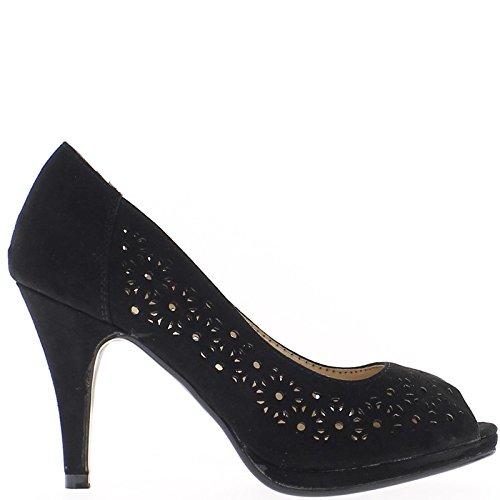 ChaussMoi Negro de Bombas Abierta Zapatos de Tacón 9 cm y Bandeja
