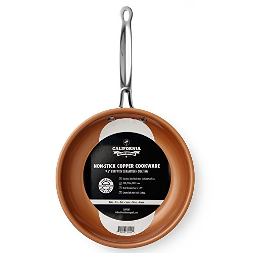 "California Home Goods 9.5"" Non-Stick CermiTech Frying Pan, Oven Safe, Dishwasher Safe, Scratch Proof, Ceramic Titanium Blend, Copper Colored"