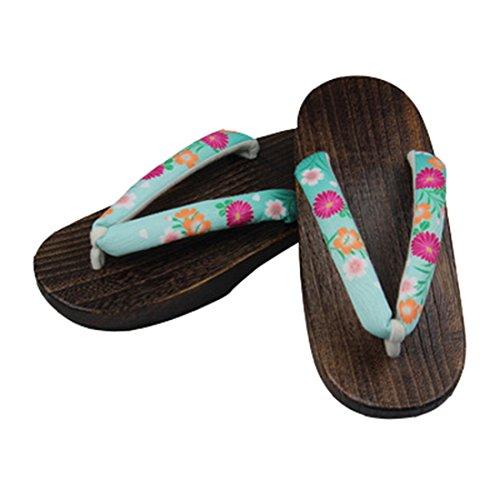 Floral Green Ez sofei Japanese C light Wooden Traditional Shoes Women's Geta Clogs Sandals wf7fqH