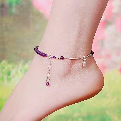 TKHNE Amethyst 4mm lap Bangle with Sterling silver flower necklace pendant summer fashion special women girls models