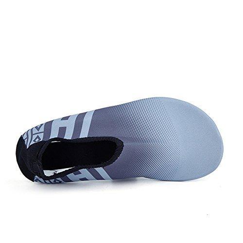 SANBANG Herren Damen Wasser Schuhe Quick-Dry Barfuß Schuhe für Schwimmen Beach Pool Surf Yog Welle Grau