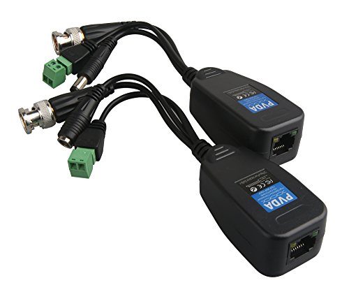 EVERSECU HD-CVI/TVI/AHD Passive Video Balun with Power Connector and RJ45 CAT5 Data Transmitter 1 Pair … (Cctv Transmitter)