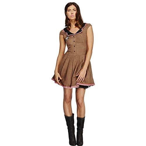 (Smiffys Women's Fever Wild West Costume, Dress, Western, Fever,Brown,Size 14-16,)