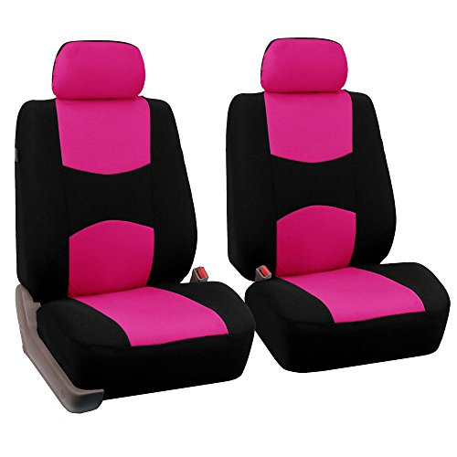 FH Group Universal Fit Flat Cloth Pair Bucket Seat Cover, (Pink/Black) (FH-FB050102, Fit Most Car, Truck, Suv, or Van) (Pink Seat Covers For Cars compare prices)