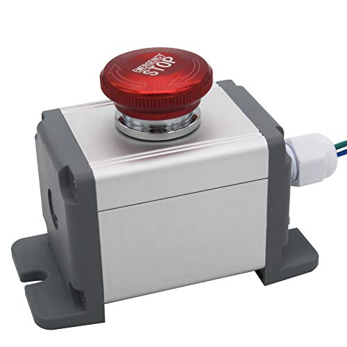 mxuteuk MXU-DT-JH 22mm Stainless Steel Metal Latching Emergency Stop Push Button Switch 12-220V 3A 1NO 1NC Switch Station Box with Connection Plug, 1 Year Warranty