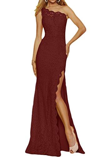Ivydressing - Vestido de fiesta (diseño con tira en un hombro, largo) borgoña