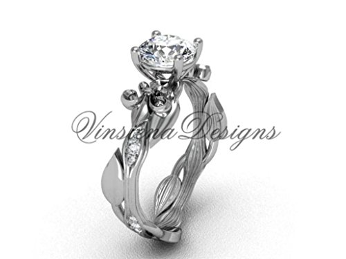 Platinum diamond leaf and vine, Fleur de Lis engagement ring VD20831