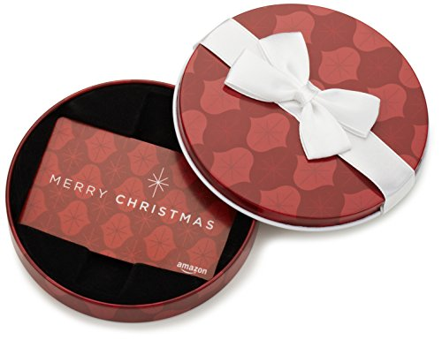Amazon.com Gift Card in a Red Ornament Tin (Merry Christmas Card Design)