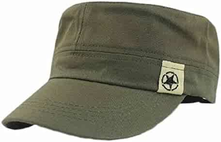 18febe2f34130 Makalon Fashion Unisex Flat Roof Military Hat Cadet Patrol Bush Hat Baseball  Field Cap Army Green