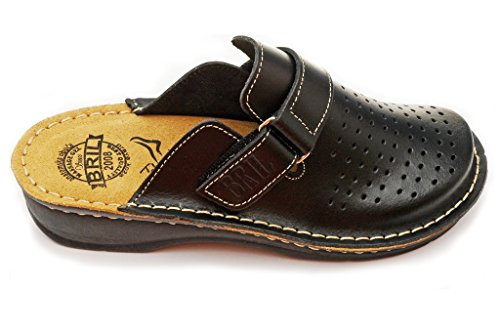 BRIL Dr Punto Rosso D52 Leather Slip-on Womens Ladies Mule Clogs Slippers Shoes Black T6PJ0IRCZ