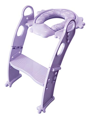 Cushie Step - 6 COLORS TO CHOOSE! Mr Frog - elegant and LOVED by all kids PURPLE toddler toilet helper with ladder.(PURPLE)