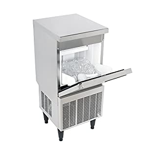 Kold Draft KD-50 Commercial and Residential Clear Ice Maker Machine Produces Up to 59 Pounds Per Day of Large Tophat Cubes 1in x 1in x 1.25in for Premium Cocktails and Beverages, 15.5in Wide, Silver