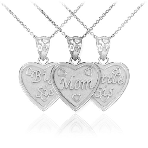 Dainty 925 Sterling Silver Mom Big Sis Lil Sis Personalized Breakable Hearts 3-Piece Pendant Necklace Set