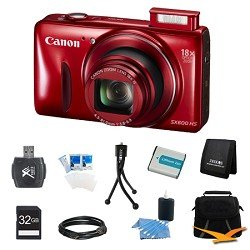 PowerShot SX600 HS 16.1MP 18x Zoom 3-inch LCD Red Ultimate Kit Includes: Camera, 32GB SD memory card, case, battery, USB card reader, card wallet, mini tripod, HDMI to Micro-HDMI A/V Cable, LCD screen protectors, and cleaning kit