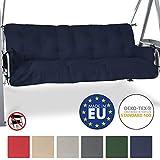 Beautissu Bench Cushion For Canopy Swing Seat Flair HS 180 x 50 x 8cm 3 Seat Hammock Cushion Flake Filling Dark Blue