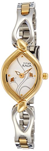 Titan Raga Women's Analog Quartz Watch - Bracelet Style Wristwatch - Silver and Gold Metal Strap with Cream Oval Face and Gold Floral Details