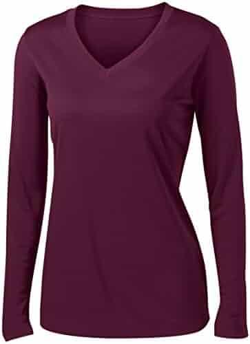 8ad6b54865fb1 Ladies Long Sleeve Moisture Wicking Athletic Shirts Sizes XS-4XL