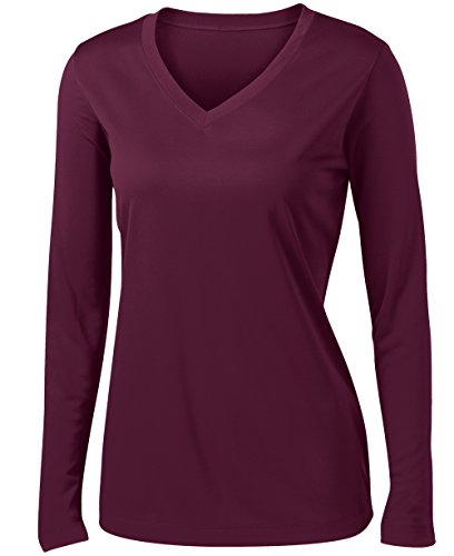 Dry Wick - Animal Den Ladies Long Sleeve Moisture Wicking Athletic Shirts Sizes XS-4XL Maroon-M