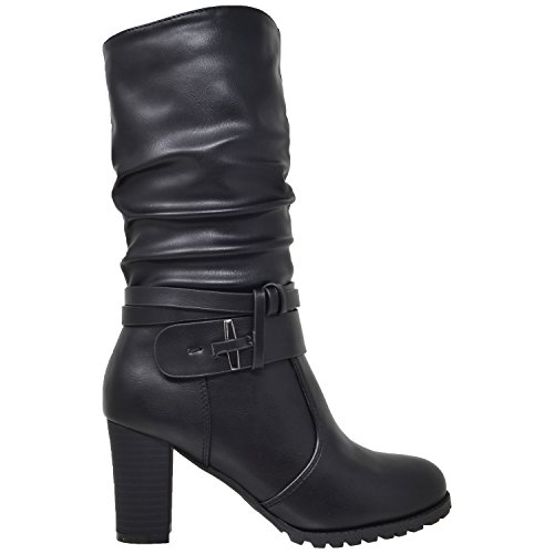 Mid Leather Stacked Heel 35 Boots ADA Calf GY Pu Black WD Block Y Womens Generation Ruched Faux Strappy qPzYAEw
