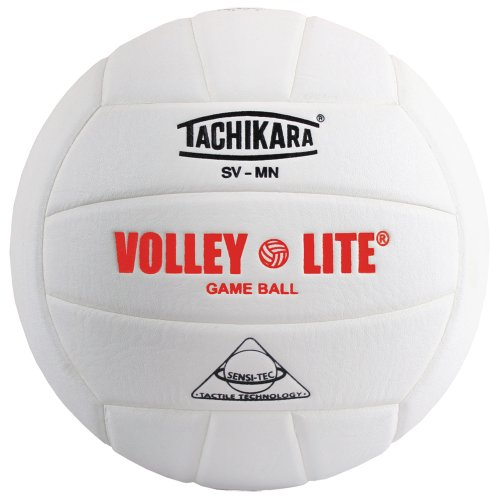 Tachikara SV-MN Volley-Lite volleyball with Sensi-Tech cover, regulation size but lighter (white)